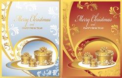 Vastgestelde Prentbriefkaaren met giften voor Kerstmis 2 Stock Foto's