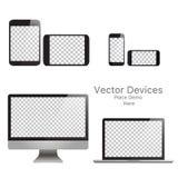 Vastgestelde realistische vectorapparaten op een witte achtergrond stock illustratie