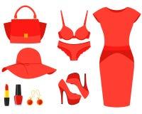Vastgestelde rode kleren Royalty-vrije Stock Foto's