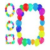 Vastgestelde ronde, ovale, vierkante kaders van kleurrijke ballons in de stijl van realisme om kaarten, verjaardagen, huwelijken, Royalty-vrije Stock Foto's