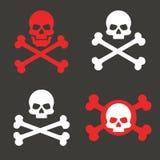 Vastgestelde schedel en gekruiste knekels, pictogram Het concept waarschuwing van dodelijk gevaar Het teken van de piraat Vector royalty-vrije illustratie