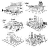 Vastgestelde schets isometrische gebouwen van koffie, pizzeria, hotel, supermarkt, fabriek, geïsoleerde kernenergieinstallatie royalty-vrije illustratie