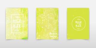 Vastgestelde schilderijen met marmering Kleureninkt in water Marmeren textuur De plons van de verf Kleurrijke vloeistof Voor uw a royalty-vrije illustratie