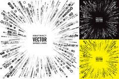 Vastgestelde snelheidslijn met ringen van verschillende diameter Feestelijke illustratie met effect machtsexplosie Element van on vector illustratie