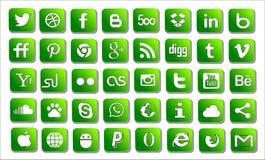 Vastgestelde sociale pictogrammen Stock Foto's