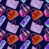 Vastgestelde soorten handtassendame: de koppeling, het vat, de totalisator en het kegelen doen, helder roze, rood, blauw, purper  royalty-vrije illustratie