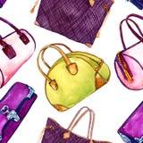 Vastgestelde soorten handtassendame: de koppeling, het vat, de totalisator en het kegelen doen, naadloos patroon op witte achterg royalty-vrije illustratie