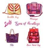 Vastgestelde soorten handtassendame: het zadel, de boodschapper, de totalisator en de rug in eigen zak steken zak, op witte achte royalty-vrije illustratie