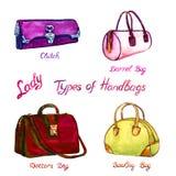 Vastgestelde soorten handtassendame: koppeling, vat, artsen en kegelenzak royalty-vrije illustratie