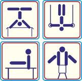 Vastgestelde Sport gymnastiek- atleet Vector pictogrammen Stock Foto