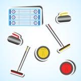 Vastgestelde sport krullende pictogrammen Stock Afbeelding
