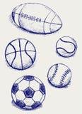 Vastgestelde sportballen Royalty-vrije Stock Afbeelding