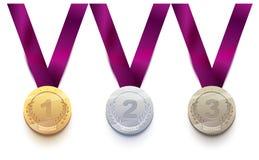 Vastgestelde sportmedaille 1 goud, 2 zilver, brons 3 vector illustratie