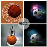 Vastgestelde sportpictogrammen, voetbal, basketbal Stock Foto