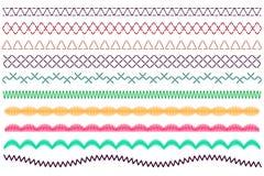 Vastgestelde steek naaimachine Besnoeiingslijnen Vector illustratie royalty-vrije illustratie