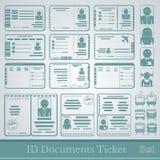 Vastgestelde steekproeven van de kaartjes en de certificaten van documentenkaarten Royalty-vrije Stock Afbeelding