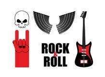 Vastgestelde symboolrock Schedel en vleugels, gitaar en rotshandsi Stock Foto