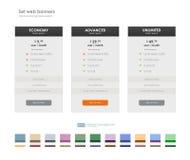 Vastgestelde tarieven interface voor de plaats ui ux vectorbanner voor Web app Stock Afbeelding