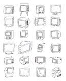 Vastgestelde Televisies, uitstekende, vectorillustratie Royalty-vrije Stock Fotografie