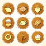 Vastgestelde thee en snoepjes om pictogrammen vector illustratie