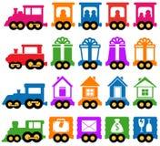 Vastgestelde trein - de pictogrammen van de leveringsdiensten Royalty-vrije Stock Fotografie