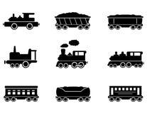 Vastgestelde treinpictogrammen Royalty-vrije Stock Foto's
