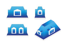 Vastgestelde types van een mansard dak met verschillende hoeken Geworpen mansard dak met koekoeken royalty-vrije illustratie