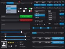 Vastgestelde UI-elementen vectorgebruikersinterface Stock Afbeeldingen