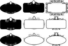 Vastgestelde uitstekende kaders, ontwerpelementen Getrokken schetshand Decoratieve Grens royalty-vrije illustratie