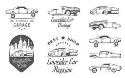 Vastgestelde Uitstekende Lowrider Logo Badge en Teken Stock Afbeelding