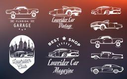 Vastgestelde Uitstekende Lowrider Logo Badge en Teken Stock Foto's
