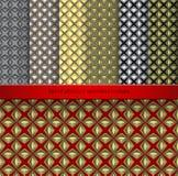 Vastgestelde Uitstekende retro naadloze patronen Royalty-vrije Stock Afbeeldingen