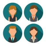 Vastgestelde van bedrijfs pictogram mannelijke en vrouwelijke gezichten avatars Vlakke illustratie Stock Fotografie