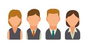 Vastgestelde van bedrijfs pictogram mannelijke en vrouwelijke gezichten avatars Vlakke illustratie Royalty-vrije Stock Foto's