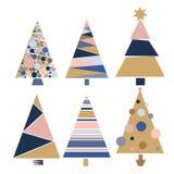 Vastgestelde van de de bomenwinter van decoratiekerstmis van het het ontwerpseizoen de vierings vectorillustratie van december Stock Foto's