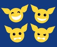 Vastgestelde van het de stijlontwerp van het pictogram gele karakter vlakke van het het elementen vectorvermaak de toepassingsill Stock Foto