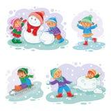 Vastgestelde vector de winterpictogrammen met kleine kinderen Stock Foto