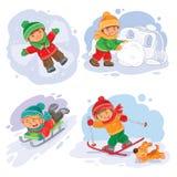 Vastgestelde vector de winterpictogrammen met kleine kinderen Stock Foto's