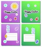 Vastgestelde Vector Gelukkige Pasen-Kaartmalplaatjes met stickerseieren, konijntjes, bloemen, zon Illustratie voor de kaarten van stock illustratie