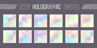 Vastgestelde vector holografische gradiëntmalplaatjes Royalty-vrije Stock Foto's