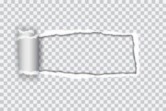 Vastgestelde vector realistische illustratie van transparant gescheurd document met Stock Afbeelding