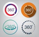 Vastgestelde vector van 360 graden Royalty-vrije Stock Afbeeldingen