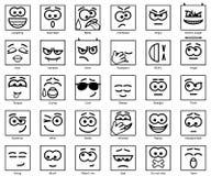 Vastgestelde Vector Vierkante Glimlachen Royalty-vrije Stock Afbeeldingen