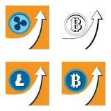 Vastgestelde vectorbitcoingrafiek op achtergrond Hype van de Rimpelingscripto van Bitcoinlitecoin concepten vectorillustratie met vector illustratie