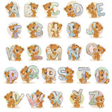 Vastgestelde vectorbrieven van het Engelse alfabet met grappige teddybeer Stock Foto's