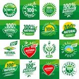 Vastgestelde vectoremblemen voor natuurlijke producten Royalty-vrije Stock Afbeelding