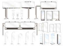 Vastgestelde vectorillustraties van de reclame van bouw en openluchtaanplakbord Stock Foto