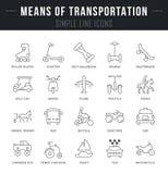 Vastgestelde Vectorlijnpictogrammen van Middelen van Vervoer Stock Foto
