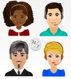 Vastgestelde vectormensenavatars De werknemers van call centre steunen en Stock Afbeeldingen
