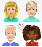Vastgestelde vectormensenavatars De werknemers van call centre steunen en Royalty-vrije Stock Afbeeldingen
